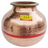 SHIV SHAKTI ARTS 11'' X 12'' Pure Copper Matka Water Pot/Tank Container Water Storage Home Hotel Restaurant Good Health Benefit Yoga Ayurveda Healing Capacity 15 Litre Approx