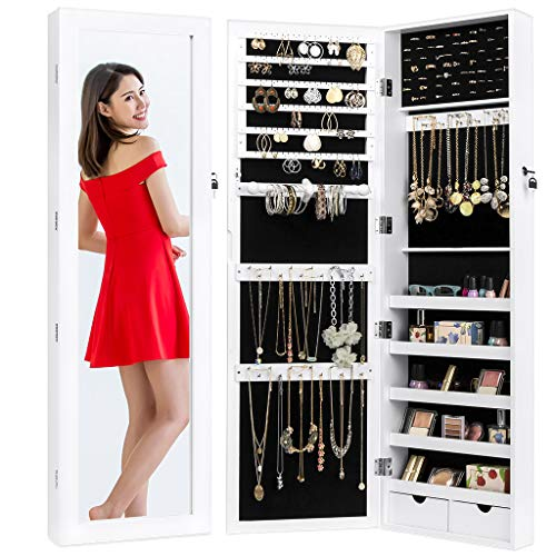 Best Choice Products Mirrored Lockable Jewelry Cabinet Armoire Organizer w/Door Hanging Hooks and Wall Mount, White