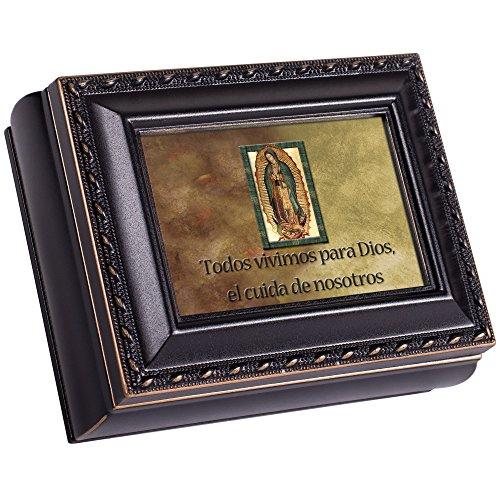 Cottage Garden Todos Vivimos para Dios El Cuida Black Rope Trim Tiny Square Jewelry and Keepsake Box