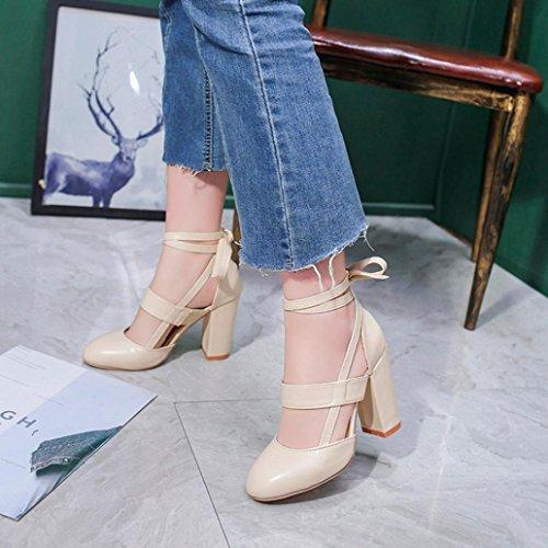 Vintage Scarpe Chiuse Tacco Sexy 10cm Eleganti Sera con Dragon868 Beige Alto Zeppa 2018 Cinturino Estivi Donna Donna qvEWwR7