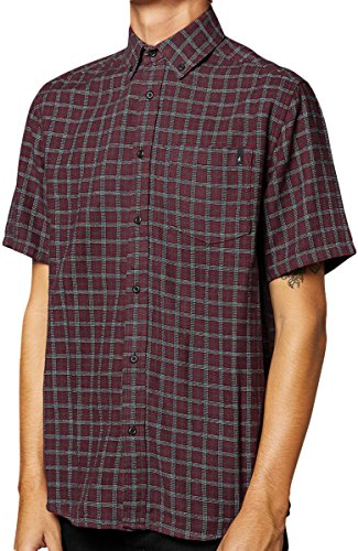 ALTAMONT Mens Frith Woven Button Up Short Sleeve Shirts X-Large Red