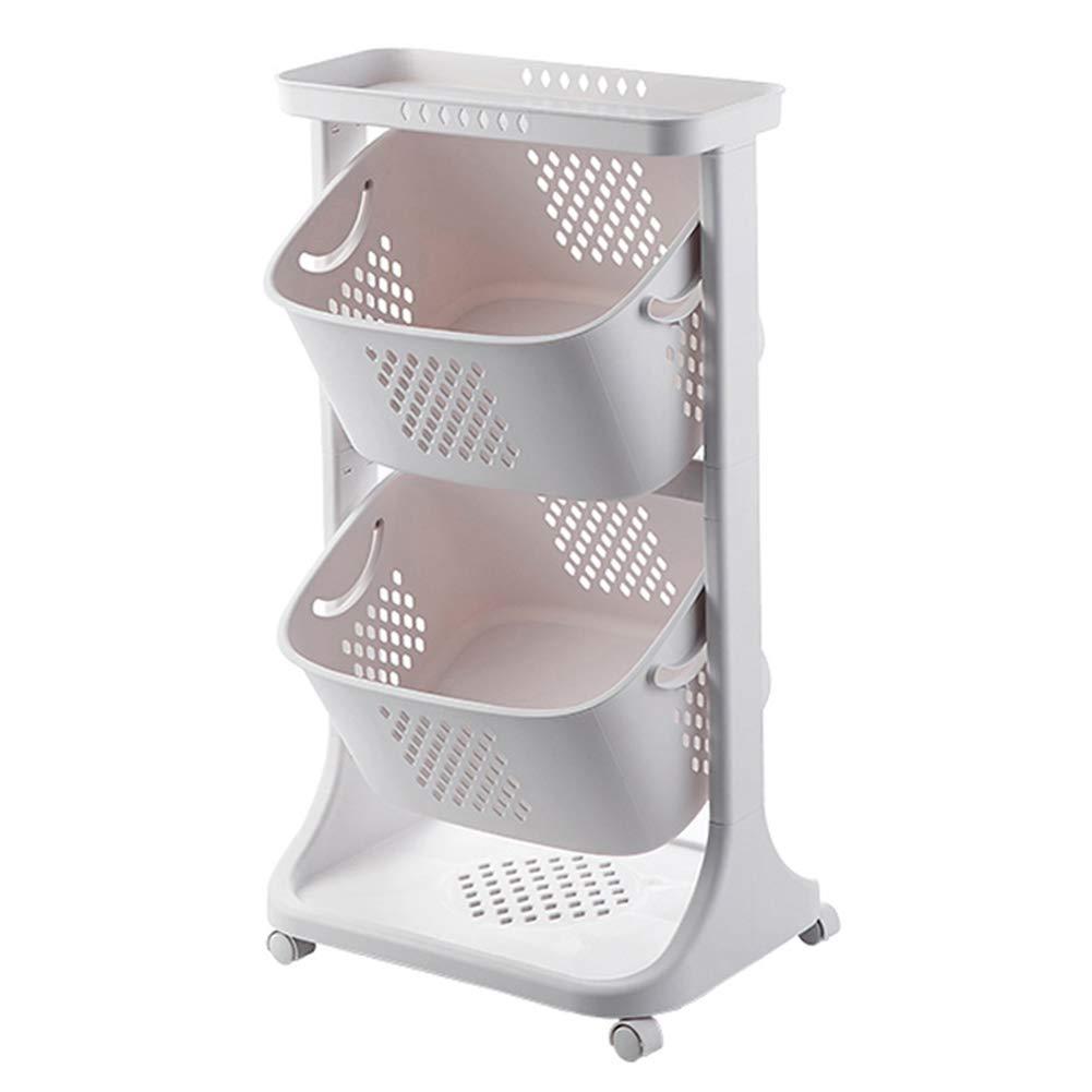 Multi-Function Kitchen Rack, Kitchen Vegetable Floor Multi-Layer Fruit Basket, Basket, Seasoning Storage Rack with Wheels, Suitable for Bathroom Living Room Bedroom by Kitchen shelf