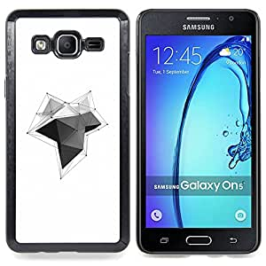 - Polygon Lines Black White Clean Design - - Snap-On Rugged Hard Cover Case Funny HouseFOR Samsung Galaxy On5 SM-G550FY G550