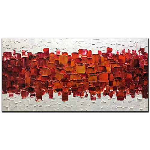 (Amei Art Paintings,24X48 Inch 3D Hand-Painted On Canvas Modern Framed Red Art Abstract Oil Paintings Contemporary Artwork Home Decor Wall Art Wood Inside Framed Ready to Hang for Living Room Office )