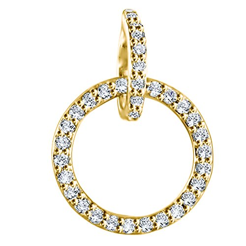 (TwoBirch 14k Yellow Gold 14k Yellow Gold Beautiful Fashion Pendant and Matching Chain set with Charles & Colvard Created Moissanite with Charles Colvard Created Moissanite (0.25 ct. twt.))