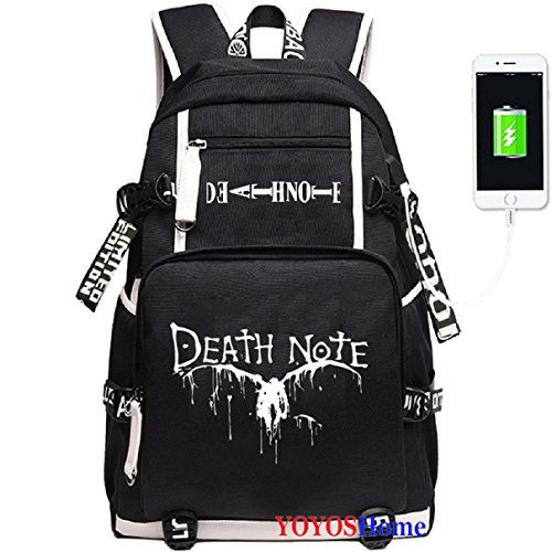 YOYOSHome Anime Death Note Cosplay Rucksack Daypack Bookbag Laptop Backpack School Bag with USB Charging Port (2)