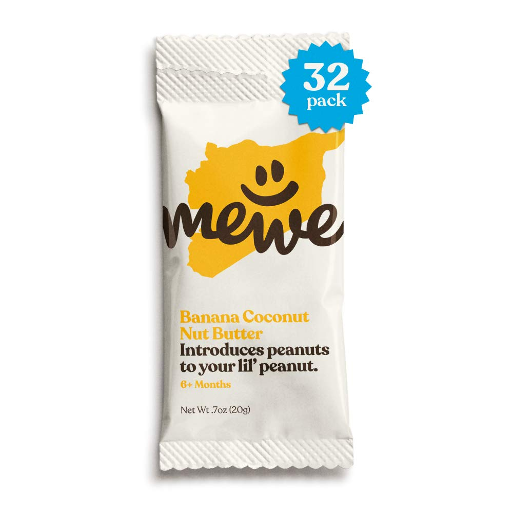 Early Peanut Introduction by MeWe Baby | Nut Butter Squeeze Packs, 32 Count | Baby Food and Baby Snacks | Reduce Peanut Allergy Risk | Non-GMO | Banana Coconut