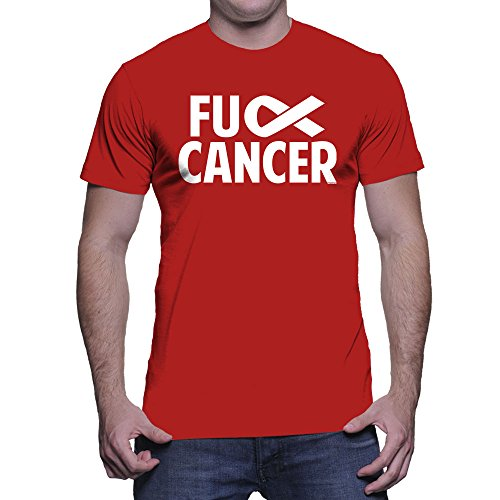 HAASE UNLIMITED Men's Fuck Cancer T-Shirt (Red, X-Large)