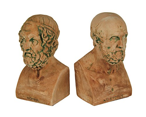 (Zeckos Cement Decorative Bookends Terracotta Finish Aristotle And Homer Bust Bookends Greek Philosophy 4.25 X 7.25 X 4.25 Inches Coral)