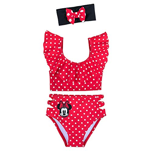 Disney Minnie Mouse 3-Piece Deluxe Swimsuit for Girls Size 5/6 Red (Piece Swimsuit Disney One)