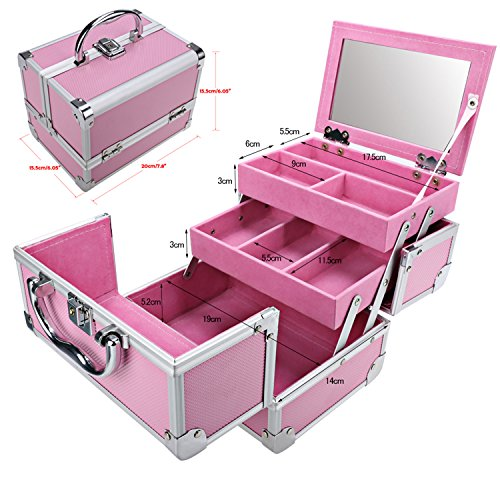 Bazal Small Makeup Train Case Travel Makeup Box for Girls Women Aluminum Cosmetic Box Jewelry Box with Mirror + 2 Keys, 7.8 x 6.05 x 6.05inch, Pink by Bazal (Image #2)