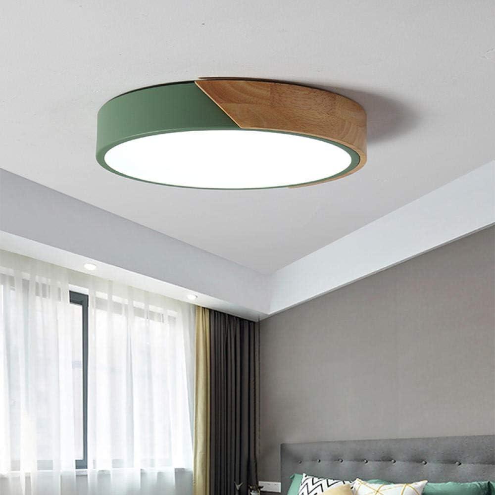 Lámpara de techo led para sala de estar, iluminación inteligente de registro, lámpara de dormitorio macaron redonda ultrafina, verde 50 cm, luz blanca