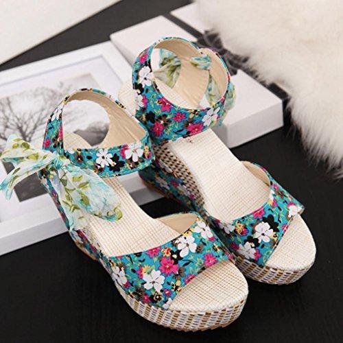 bescita Frauen Mode Sommer Hang mit Flip Flops Sandalen Slipper Schuhe (35, Grün)