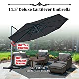 BenefitUSA 11.5' Hanging OffsetRoma Umbrella Deluxe Outdoor Umbrella UV 50+ Tilt & 360 Rotation Patio Heavyduty Sunshade Cantilever Crank with Protect Cover- Black