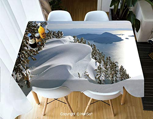 HooSo Premium Polyester Table Cover, Machine Washable, Durable Table Cloths for Wedding Reception Restaurant Banquet Party,Winter,Pacific Ocean Meets The Mountains Vancouver,53