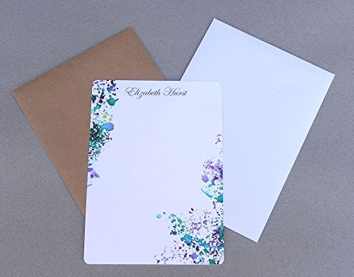 Contemporary Abstract Purple & Green Watercolor Flat Note Card Set With Envelopes, Custom Monogram Note Cards, Women's Personalized Stationery Set, Girl's Stationary Set, Correspondence ()