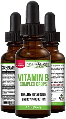 Green Organics Vitamin B Complex Liquid Drops To Support Energy, Vitality, and Immunity Health (2 Fl Oz)
