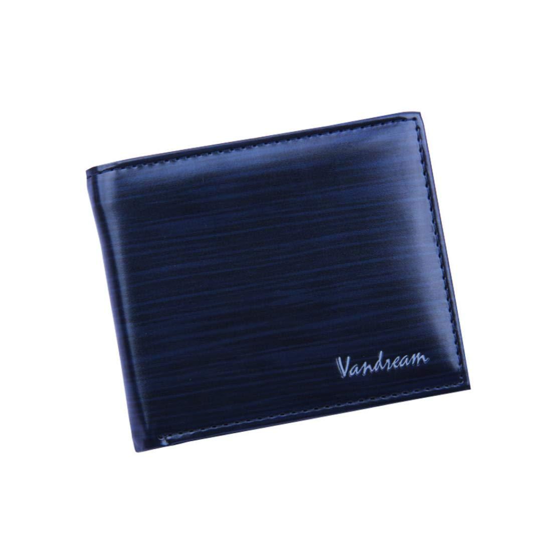 Clearance Sale Litetao Business Bifold Wallet Wood Grain PU Leather Purse Cash ID Credit Card Holder VANDREAM Money Clip Gift (Blue)