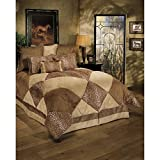 8 Piece Luxurious Safari Themed Comforter Set Cal King Size, Featuring Lush Geometric Diamonds Pattern Comfortable Bedding, Cheetah Animal Print, Unique Stylish Nature Inspired Bedroom Decoration, Tan