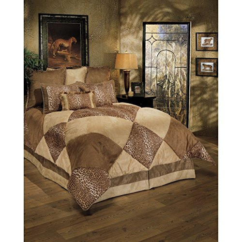 8 Piece Luxurious Safari Themed Comforter Set Cal King Size, Featuring Lush Geometric Diamonds Pattern Comfortable Bedding, Cheetah Animal Print, Unique Stylish Nature Inspired Bedroom Decoration, Tan by SE