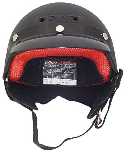 Core Helmets Deluxe Half Helmet (Flat Black, Medium)