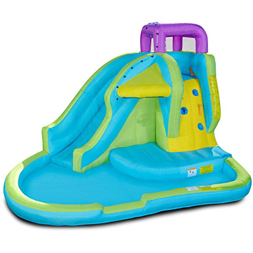 Inflatable Waterpark. Above Ground Blow Up Kiddie Play Center For Kids, Children, Boys & Girls. Great For Outdoor Family Fun & Birthday Party W/ Pool, Bouncer, Water Slip N Slide, Climbing Wall, Pump by Inflatable Waterpark