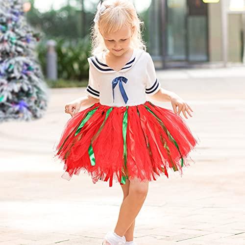 3 otters LED Light Up Princess Dress, Light Up Tutu Skirts with Magic Wand Light Up Tutu for Little Girls Princess Halloween Christmas Party Fairy Costume Set 2PCS Red