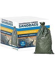 "Sandbaggy - Empty Poly Sandbags W/UV Protection - Size: 14"" x 26"" - Color: Green - Military Grade (50 Bags)"