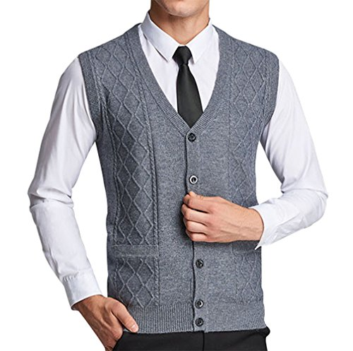 Lyamazing Men's Solid Color Argyle Pattern Button Down Sweater Vest with - Button Vest Mens Down Argyle