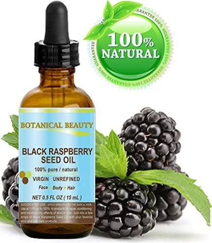 """BLACK RASPBERRY SEED OIL. 100% Pure / Natural / Undiluted / Virgin / Unrefined / Cold Pressed Carrier oil. 0.5 Fl.oz.- 15 ml. For Skin, Hair, Lip and Nail Care. """"One of the highest antioxidants, rich in vitamin A and E, Omega 3, 6 and 9 Essential Fatty Acids"""". by Botanical Beauty"""