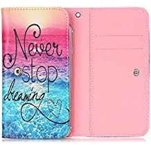 "MicroMax Canvas Doodle 4 Q391 6.0"" Flip Case, JULAM Universal Wallet Bag PU Leather Skin Protective Case With Card Slots For MicroMax Canvas Doodle 4 Q391 6.0"" Never Stop Dreaming Pattern Style"