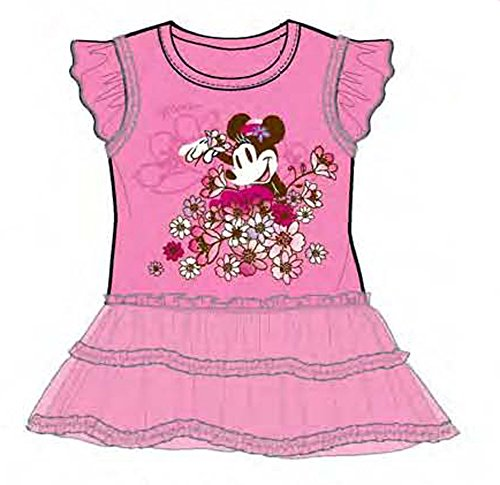 [Disney Minnie Mouse Baby Girls Ruffled Flounce Dress - Pink] (Minnie Mouse Nose)