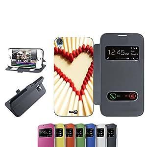 CASELABDESIGNS FLIP LIBRO CARCASA FUNDA FIAMMIFERI HEART PARA HTC DESIRE 820 NERO - FUNDA DE PROTECCIÓN PLEGABLE NEGRO