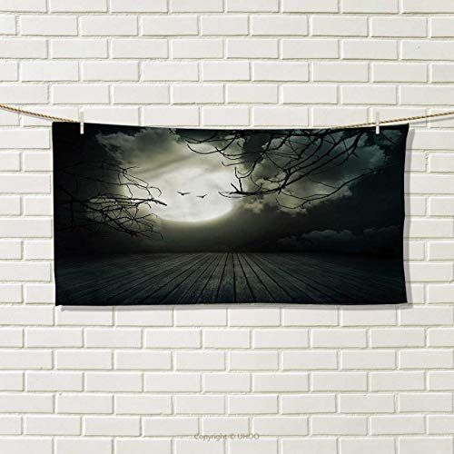 HMdy88PT Halloween Hand Towel Floor Leafless Branches Absorbent Towel Size: W 14
