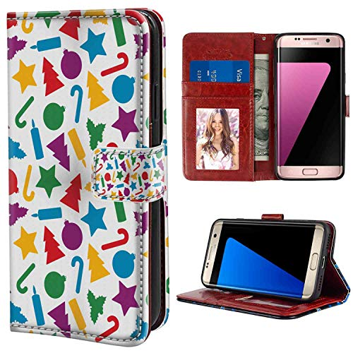 (Galaxy S7 Edge Leather Wallet Case [5.5-Inch] Christmas Colorful Silhouettes of Scattered Yuletide Icons Holly Candy Stars Candles Multicolor for Girls Case)
