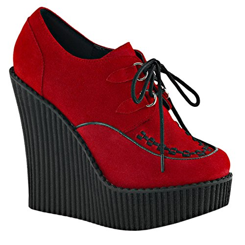 4 1 Vegan Inch Booties Womens Summitfashions Platform Red Shoes Suede Shoes Creepers Wedges 5 qpAPAIa