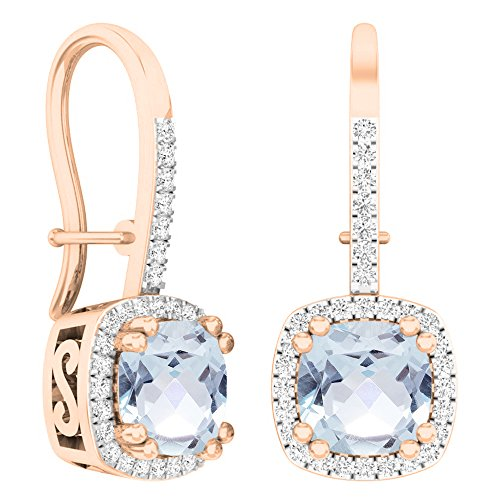 Dazzlingrock Collection 10K 6 MM Each Cushion Gemstone Round White Diamond Ladies Dangling Drop Earrings, Rose Gold