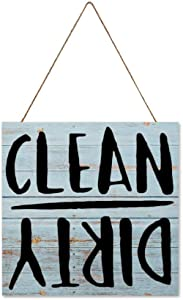BYRON HOYLE Printed Wood Hanging Sign Clean Dirty Kitchen Rustic Wall Art Dishwasher Sign Wooden Plank Decorative Stencils