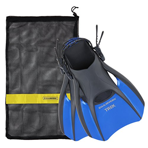 Travel Fins - US Divers Trek Travel Fin With Mesh Carrying Bag, Electric Blue, Large