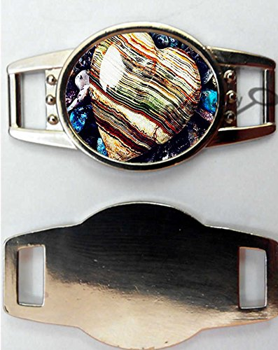 BlackKey Agate Print Oval Metal Charms for Shoelaces Bracelets Decoration, Set of 2 - 946 Oval