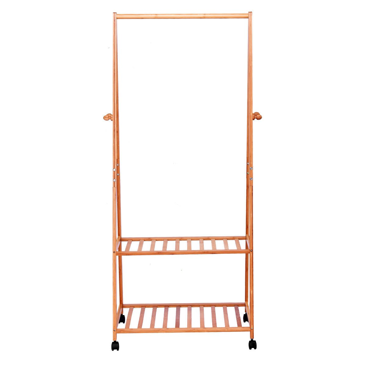 Global House Products GHP 32''x18''x66'' Bamboo Garment Laundry Rack with 2 Shoes Shelves & 4 Coat Hooks