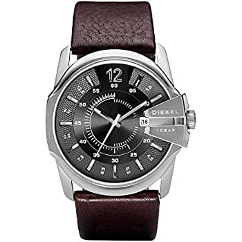Diesel Mens Master Chief Quartz Stainless Steel and Leather Casual Watch, Color: Silver-Tone, Brown (Model: DZ1206)