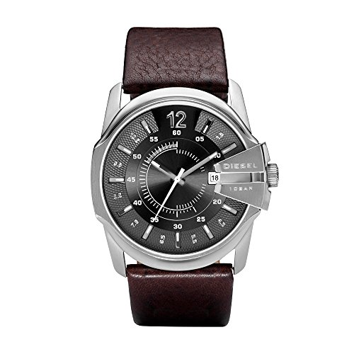 Diesel Men's Master Chief Quartz Stainless Steel and Leather Casual Watch, Color: Silver-Tone, Brown (Model: (Diesel Silver Black Band Watch)