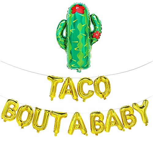 Mosoan Taco Bout A Baby Balloons Letters with Cactus | Fiesta Theme Baby Shower Decorations | Baby Shower Banner | Pregnancy Announcement, Baby Announcement, Gender Reveal Party Supplies (Gold)