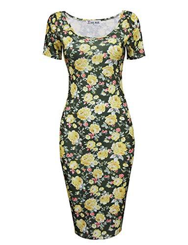 TAM WARE Women's Sweetheart Short Sleeve Midi Dress TWCWD053-KHAKIYELLOW-US S ()