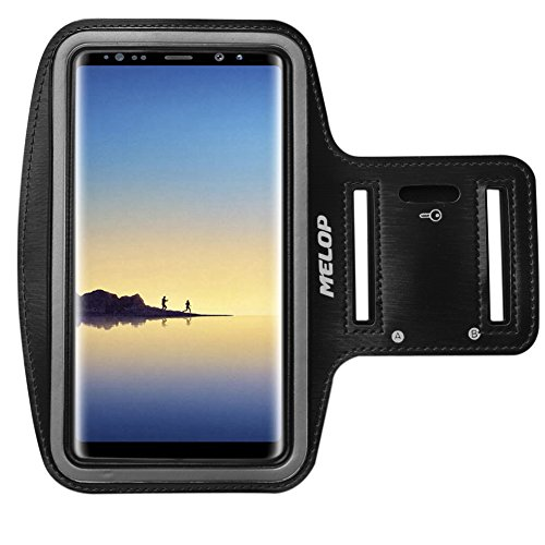 MELOP Armband for Samsung Galaxy Note 8, Professional Soft Sweat Resistant Sports Arm Band with Key Holder and 2 x ID / Credit Card / Cash Pocket