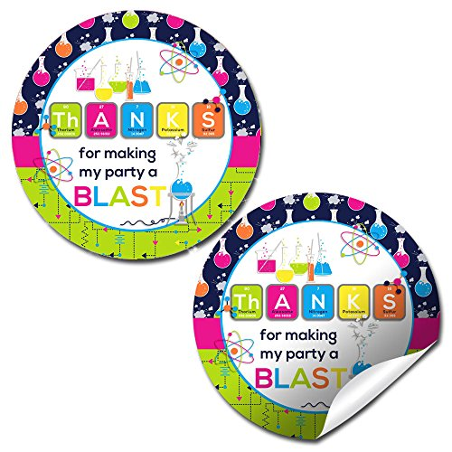 Science Birthday Party Sticker Labels, 40 2