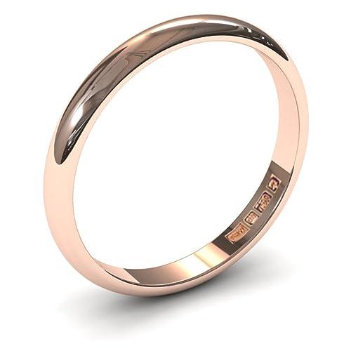 Xzara – Anillo de boda de oro rosa macizo de 9 quilates de 2,5