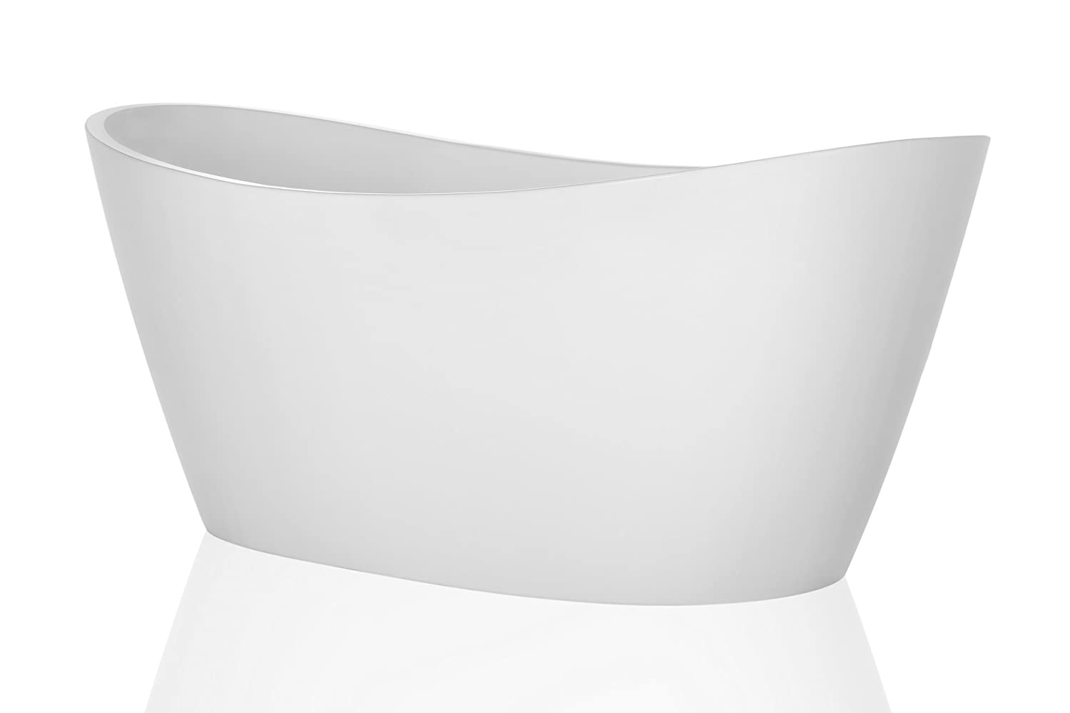 Empava 67 Made in USA Luxury Freestanding Bathtub Soaking SPA Flat Bottom Stand Alone Tub Modern Style with Custom Contemporary Design in White Acrylic EMPV-FT1518