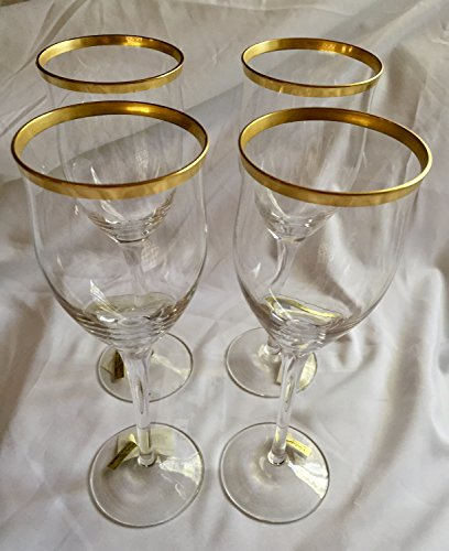 Noritake 887 Golden Tribute Crystal Water Goblet - set of 4 -